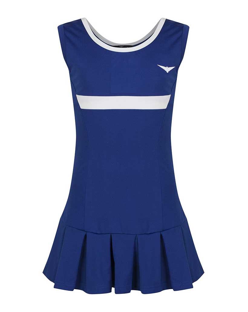 Girls Blue and White Pleated Tennis Dress Junior Netball ...