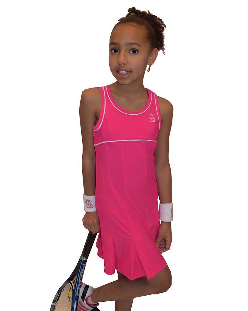 Girls Pink Pleated Tennis Dress Golf Dress Girls