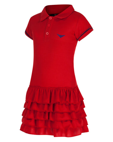 Girls Polo Tennis Frill Dress  Girls Golf Frill Dress  Red