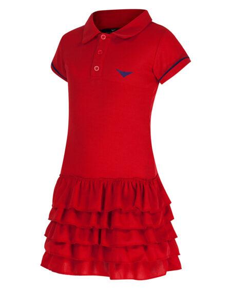 Girls Polo Tennis Frill Dress  Girls Golf Frill Dress  Red