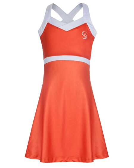 Girls V-Neck Tennis Dress | Girls V-Neck Golf Dress | Orange and White