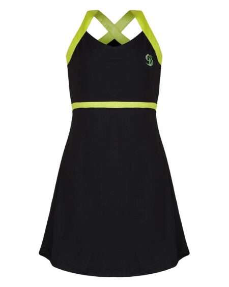 Girls V-Neck Tennis Dress | Girls V-Neck Golf Dress | Black and Green