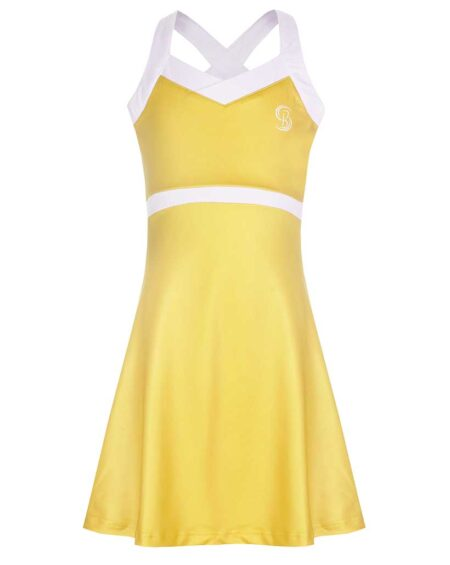 Girls V-Neck Tennis Dress | Girls V-Neck Golf Dress | Yellow and White