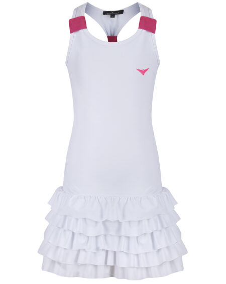 Girls Tennis Frill Dress  | Girls Golf Frill Dress | White and Pink