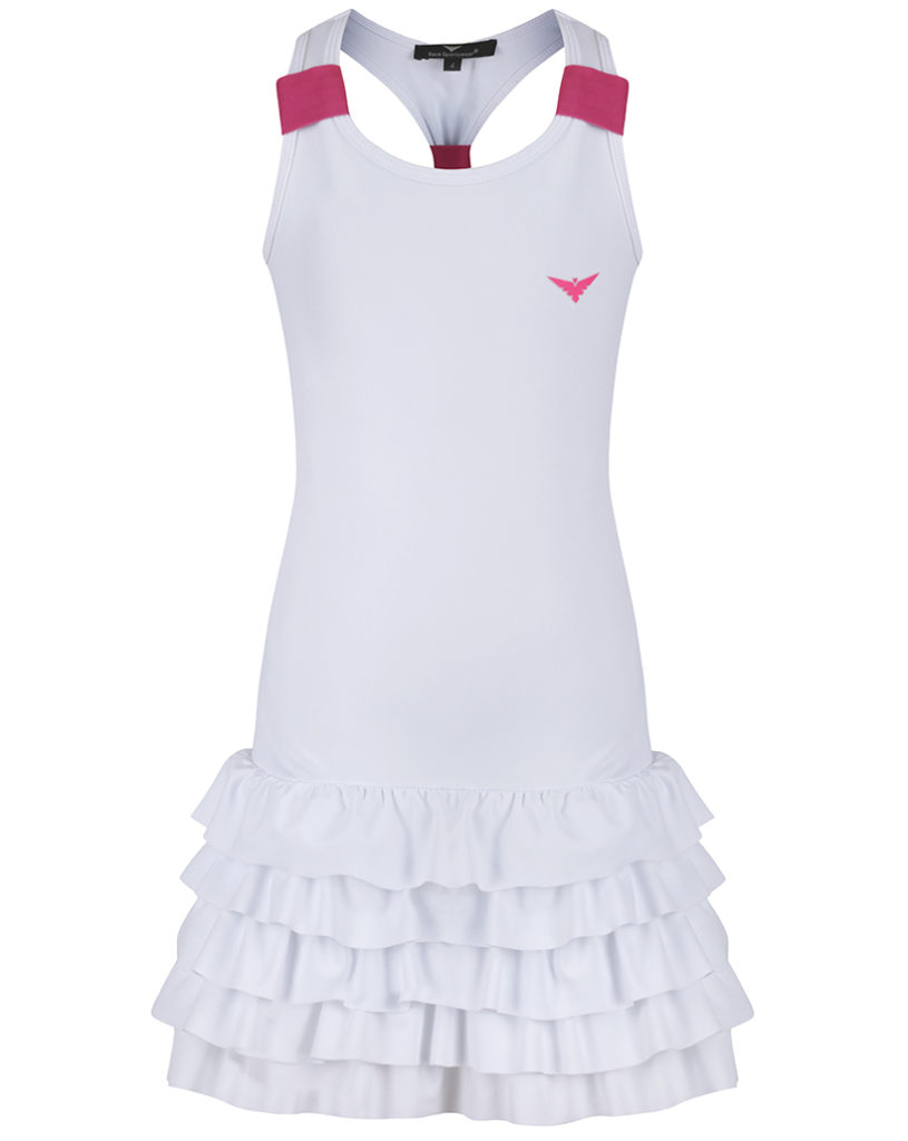 Girls White Tennis Dress / Girls White & Pink Tennis dress ...