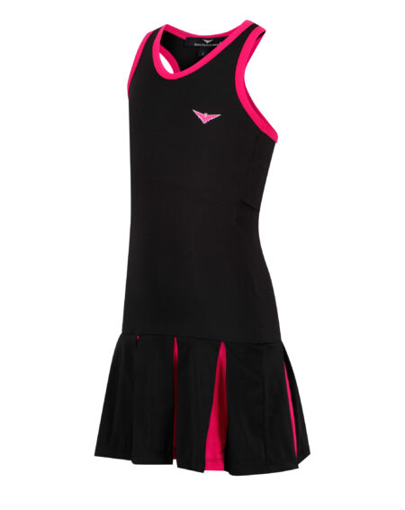 Girls Tennis Pleated Dress | Girls Golf Pleated Dress | Black and Pink