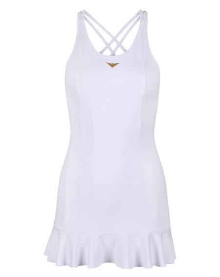 Girls White Tennis Frill Dress   Girls Golf Dress   White