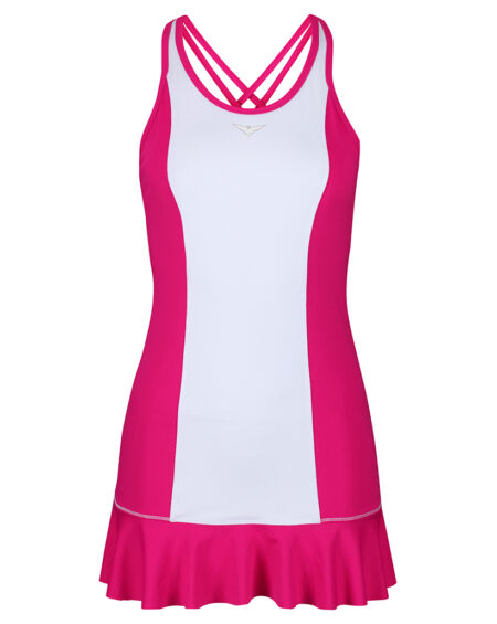 Girls Tennis Flared Dress | Girls Golf Flared Dress | Pink and White