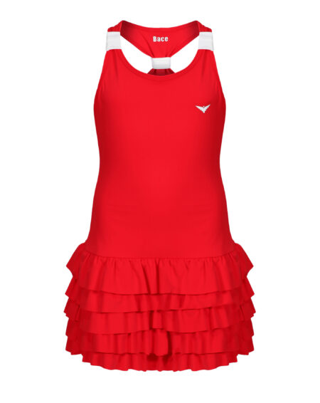 Girls Tennis Frill Dress  | Girls Golf Frill Dress | Red and White