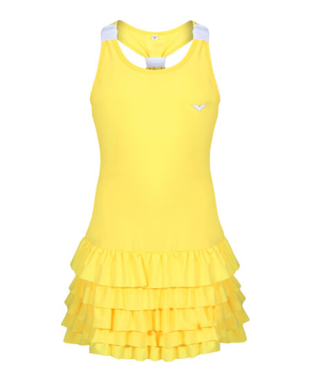 Girls Tennis Dress | Girls Golf Dress | Yellow and White | Frill Dress